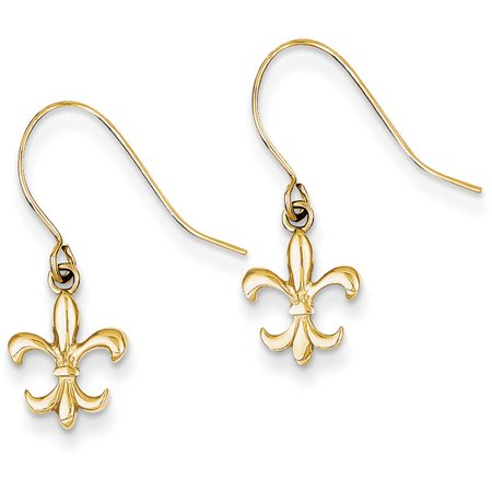 14kt Yellow Gold Fleur de Lis Dangle Earrings ()