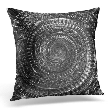 ARHOME Elegant Circle Dark Black Metal Abstract Spiral Pattern Fractal Metallic Twisted Vintage Distorted Pillow Case Cushion Cover 18x18 Inches