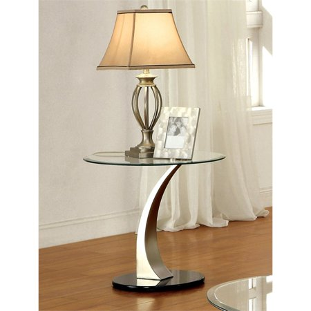 Furniture of America Mansa Contemporary Round Glass Top End Table in Satin ()