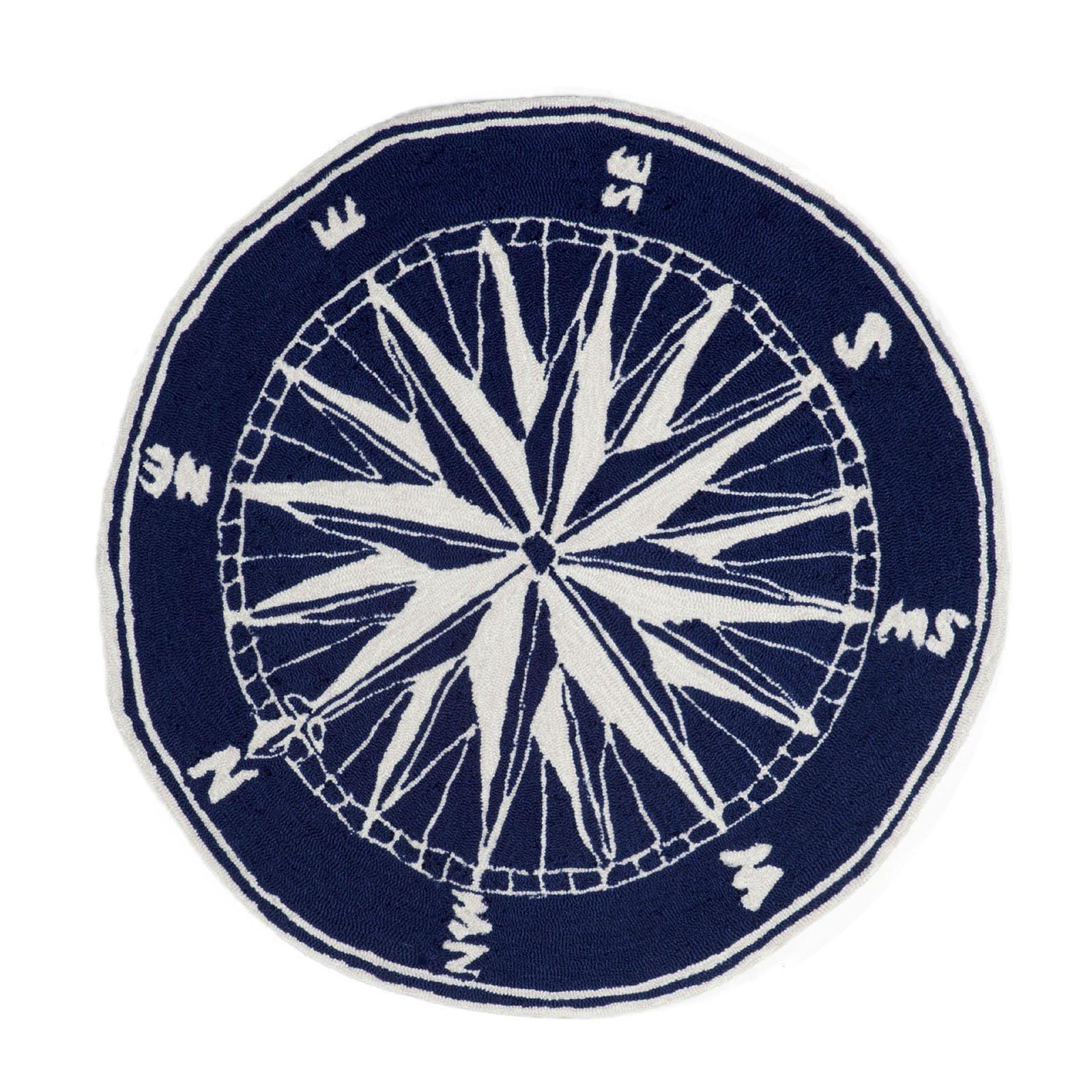 Liora Manne Frontporch 1447/33 Compass Navy Area Rug 3 Feet  Rd