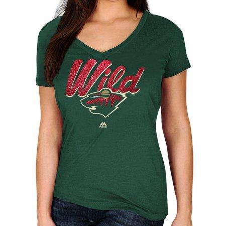 Minnesota Wild Womens Majestic Nhl   Match Penalty   V Neck T Shirt