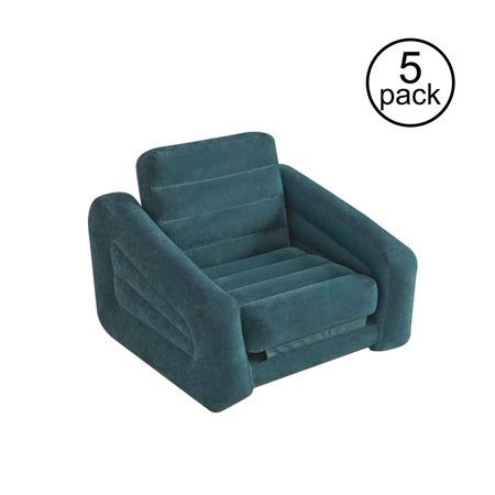 Intex Inflatable Pull Out Chair Seat and Twin Bed Air Mattress Sleeper (5 Pack) ()