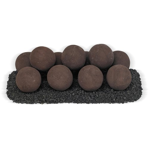 American Fireglass Lite Ball with Small Lava Stone Set