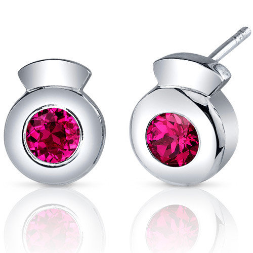 Oravo Sleek Radiance 1.50 Carats Ruby Round Cut Earrings in Sterling Silver