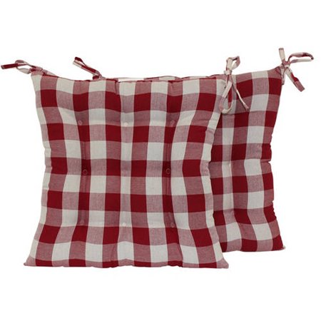 Mainstays Red Plaid Square Chair Pad With Ties Set Of 2