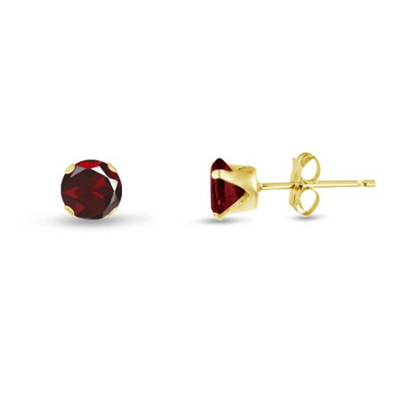 Round 2mm 14k Gold Plated Sterling Silver Genuine Red Garnet Stud Earrings, Free Gift Box included