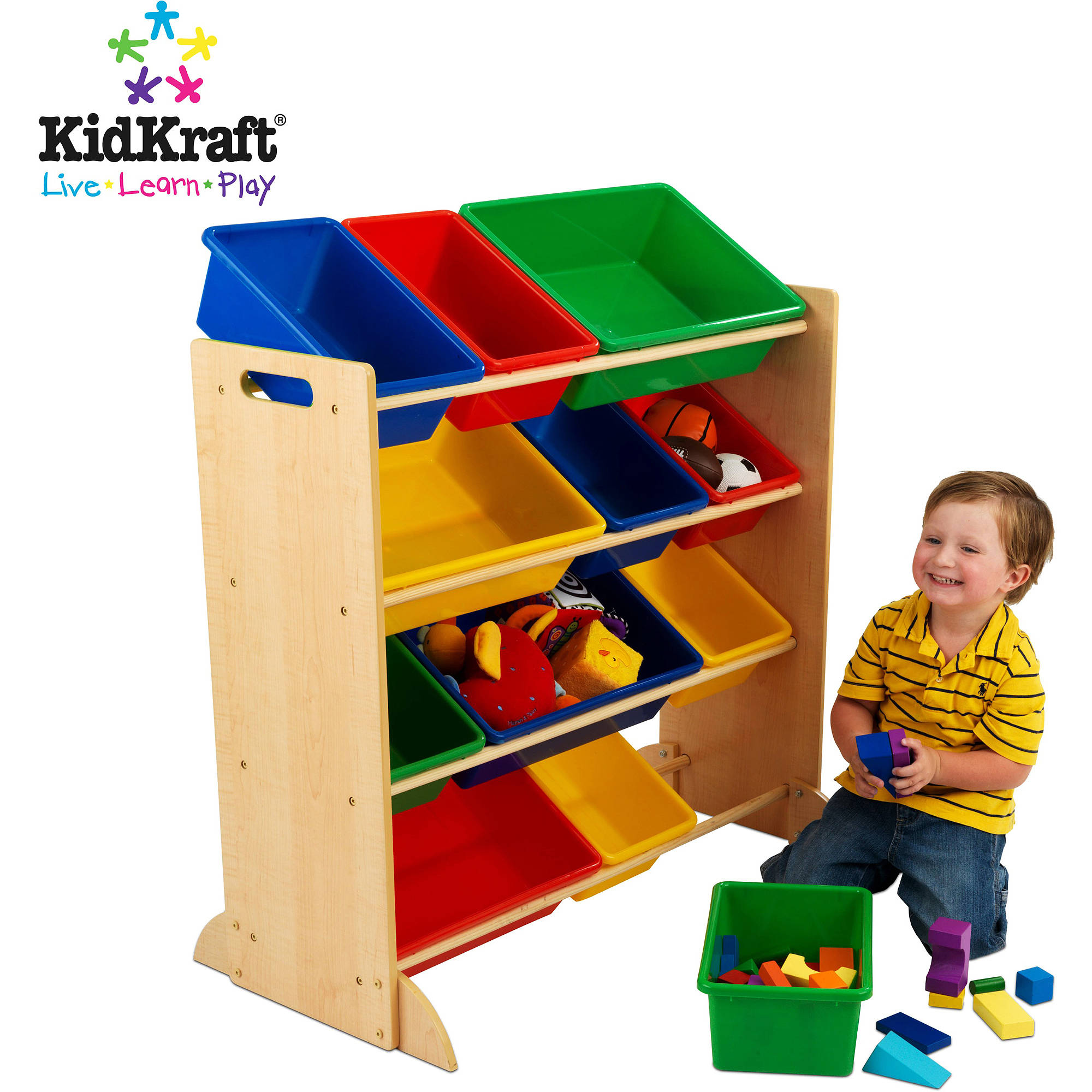 KidKraft Sort It and Store It 12-Bin Unit, Multiple Colors