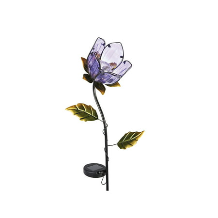 Lighted Purple Flower Glass & Metal Garden Stake - Solar Powered Light-Up - 36