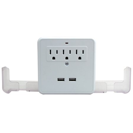 USB Wall 3 Outlet Surge Protector Dual Smartphone Cradle And 2 USB