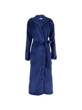 Product Image Simplicity Unisex Plush Fleece Hooded Robe Kimono Bathrobe  Sleepwear 33c55760e