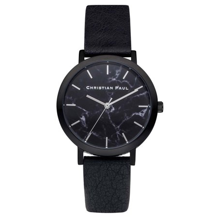Christian Paul Unisex Stainless Steel Black Leather Band Black Dial Round Marble Watch - MRL-01