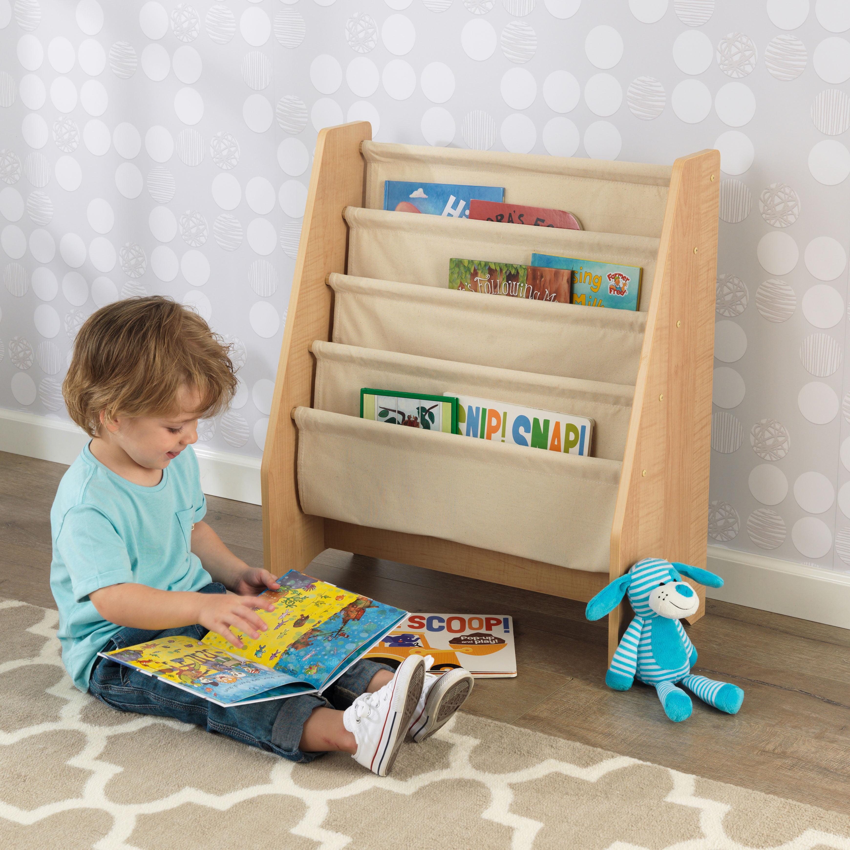 New Playroom Library Sling Bookshelf Organizer 4 Storage Pocket Natural