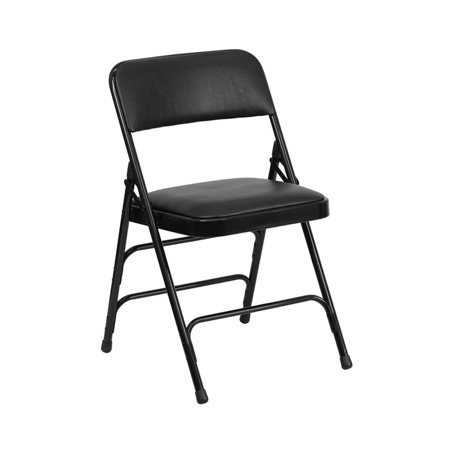 Offex Curved Triple Braced & Double Hinged Black Vinyl Metal Folding Chair - 2 Pack Double Braced Saddle