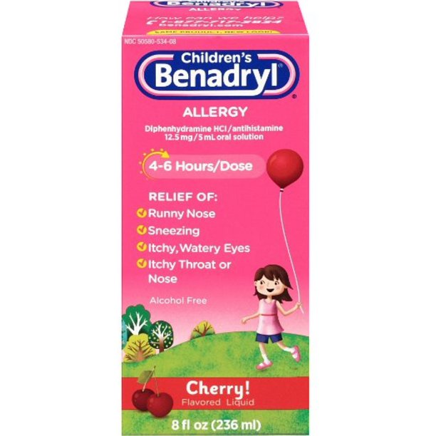 6 Pack - Children's Benadryl Allergy Liquid Cherry 8 oz