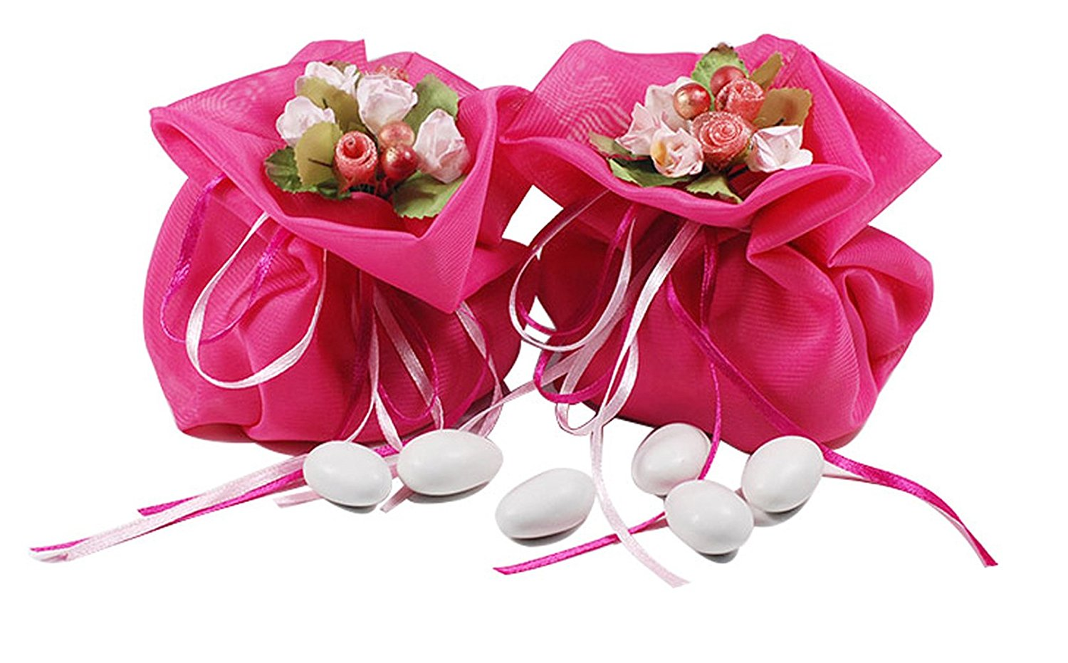 Georgette Drawstring Pouch Bags With Artificial Fake Bridal Bouquet ...