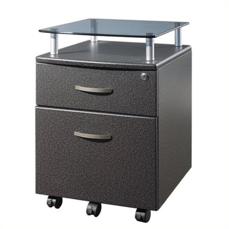 Scranton & Co 2 Drawer Wood Mobile File Cabinet in Graphite