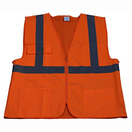 Petra Roc OV2-FSMB-4X/5X ANSI Class 2 Front Mesh 4 Pockets Zipper Closure Safety Vest, 4X-Large/5X-Large, Orange Solid