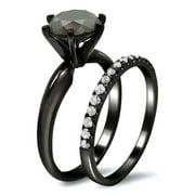 Noori 14k Black Gold 2 3/4ct TDW Black and White Diamond Engagement Ring Bridal Set (G-H, SI1-SI2) Size 10