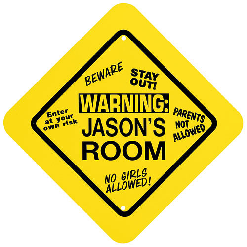 Personalized Kid's Yellow Warning Room Sign