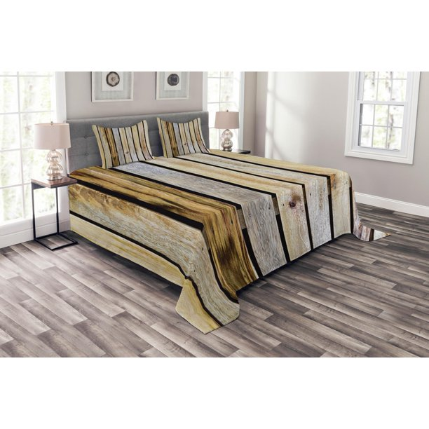 Rustic Bedspread Set Vintage Timber Fence Of Country Rough Rural House Cabin Village Mother Earth Nature Print Decorative Quilted Coverlet Set With Pillow Shams Included Brown By Ambesonne Walmart Com Walmart Com