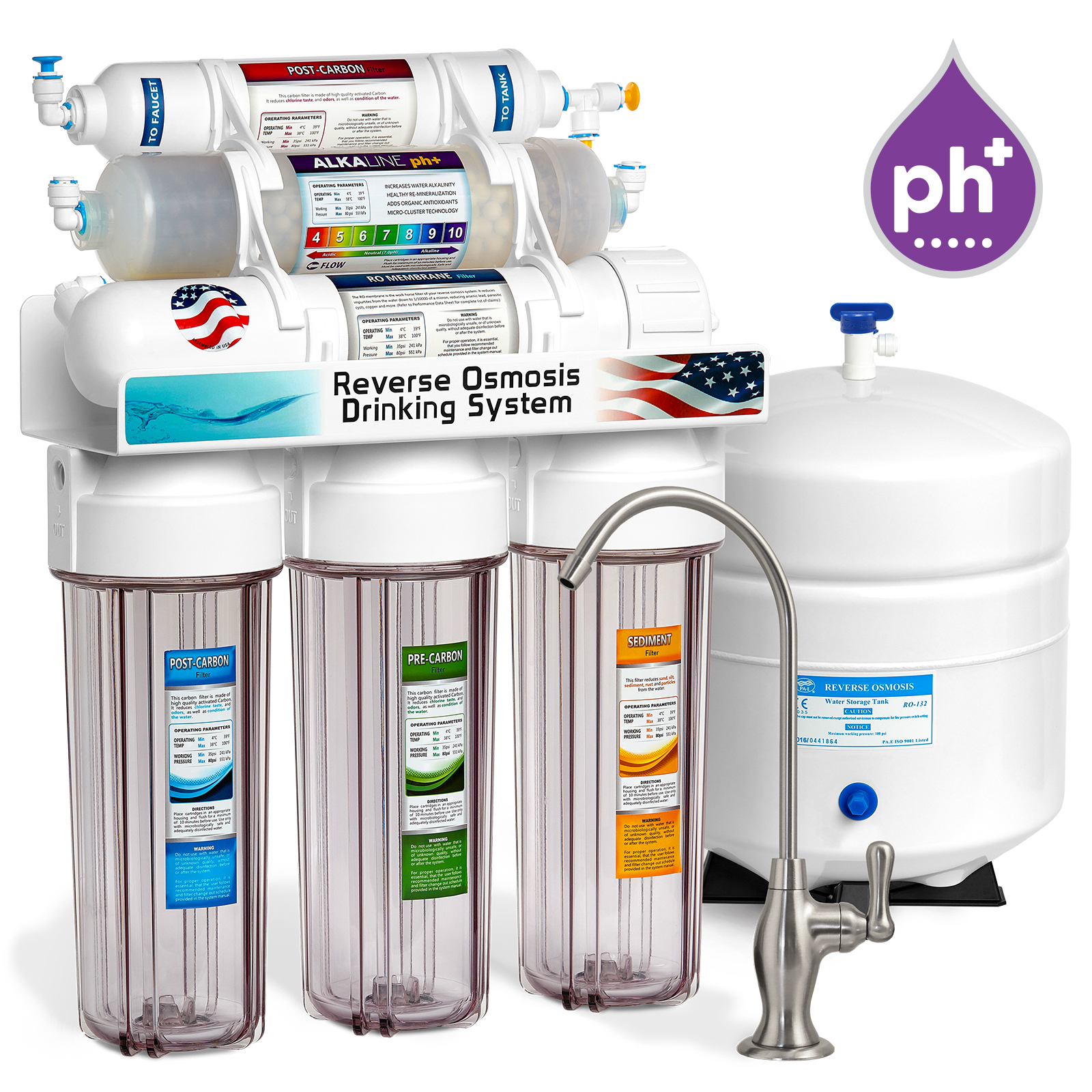 Express Water 10-Stage Alkaline Remineralization Reverse Osmosis RO Water Filter System, 50 GPD, Clear, Brushed Nickel (Deluxe)