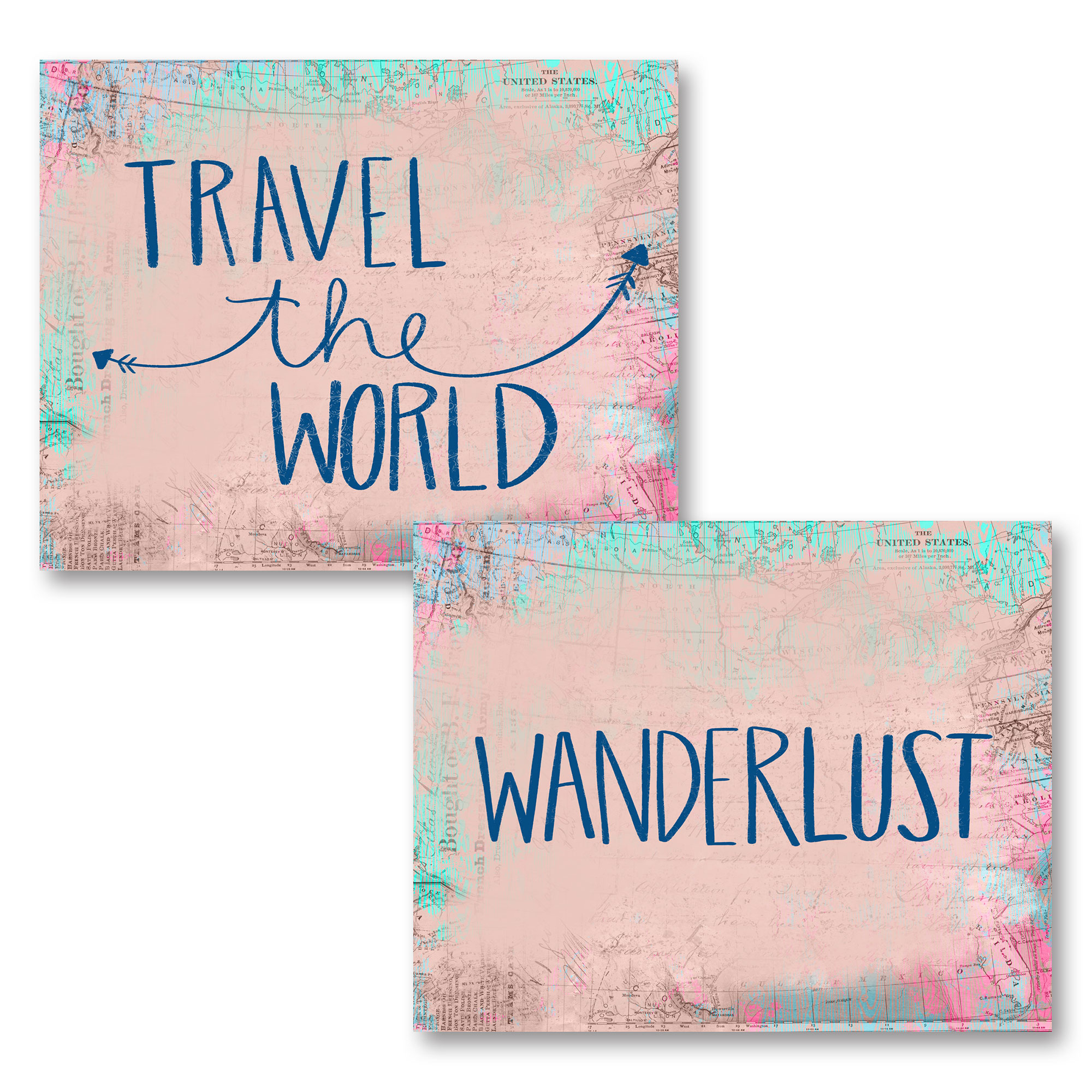 "Lovely Inspirational ""Travel The World"" and ""Wanderlust"" Set; Two 14x11in Unframed Paper Posters"