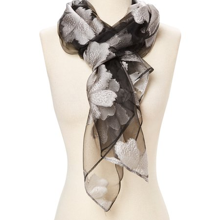 White Fashionable Womens Scarf Soft Silk Neck Wraps for Winter Spring Floral Silk Wraps Summer Casual Style Women Stoles Shawl Gifts Ideas for Ladies by - Neck Spring