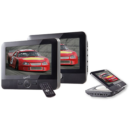 """Supersonic SC-198 7"""" DUAL SCREEN DVD PLAYER WITH USB/SD I..."""