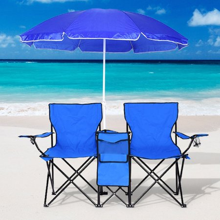 Surprising Clearance Camping Chairs Folding Chair With Umbrella And Table Cooler Portable Double Chair For Beach Camping Picnic Patio Pool Park Outdoor Gmtry Best Dining Table And Chair Ideas Images Gmtryco