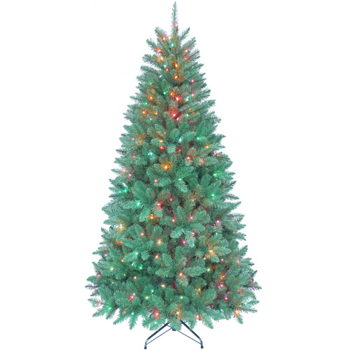 Kurt Adler Pre-Lit 7' Green Point Pine Artificial Christmas Tree with 350 Multi-Colored Lights
