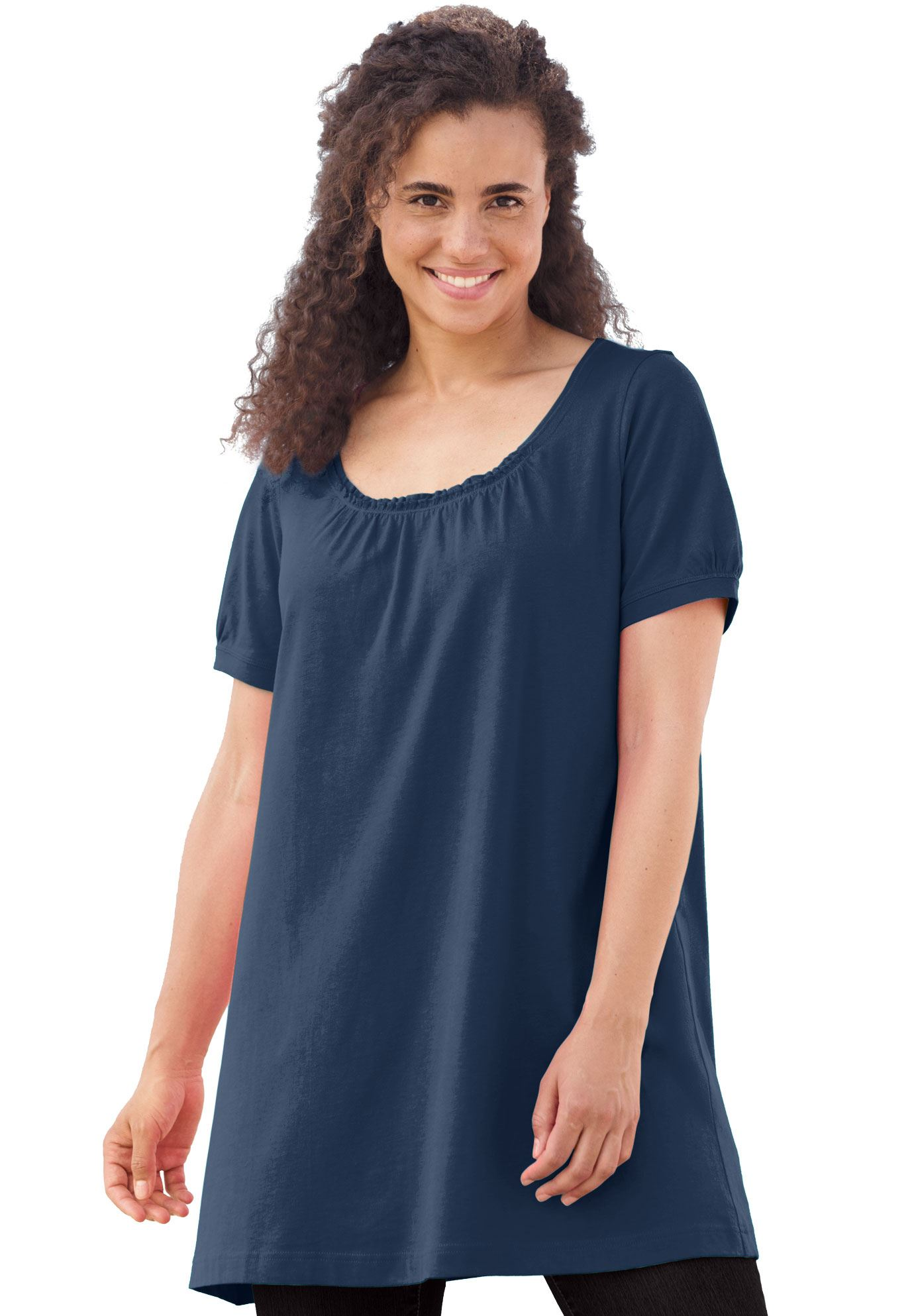 Woman Within Plus Size Perfect Shirred U-neck Tunic
