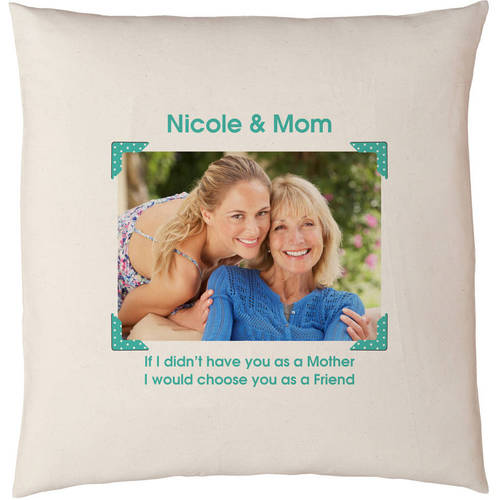 Personalized Vintage Photo Message Throw Pillow, Black, Available in 5 Colors