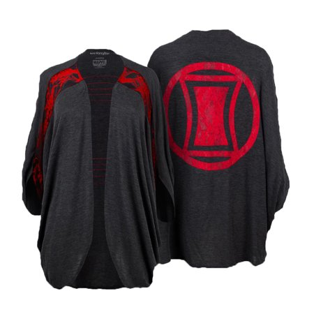 Marvel Women's Dolman Shrug Black Widow Logo Black Size L/XL -