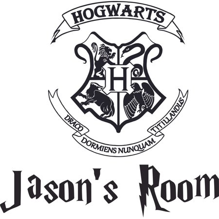 Hogwarts Logo Symbol Harry Potter Customized Wall Decal - Custom Vinyl Wall Art - Personalized Name - Baby Girls Boys Kids Bedroom Wall Decal Room Decor Wall Stickers Decoration Size