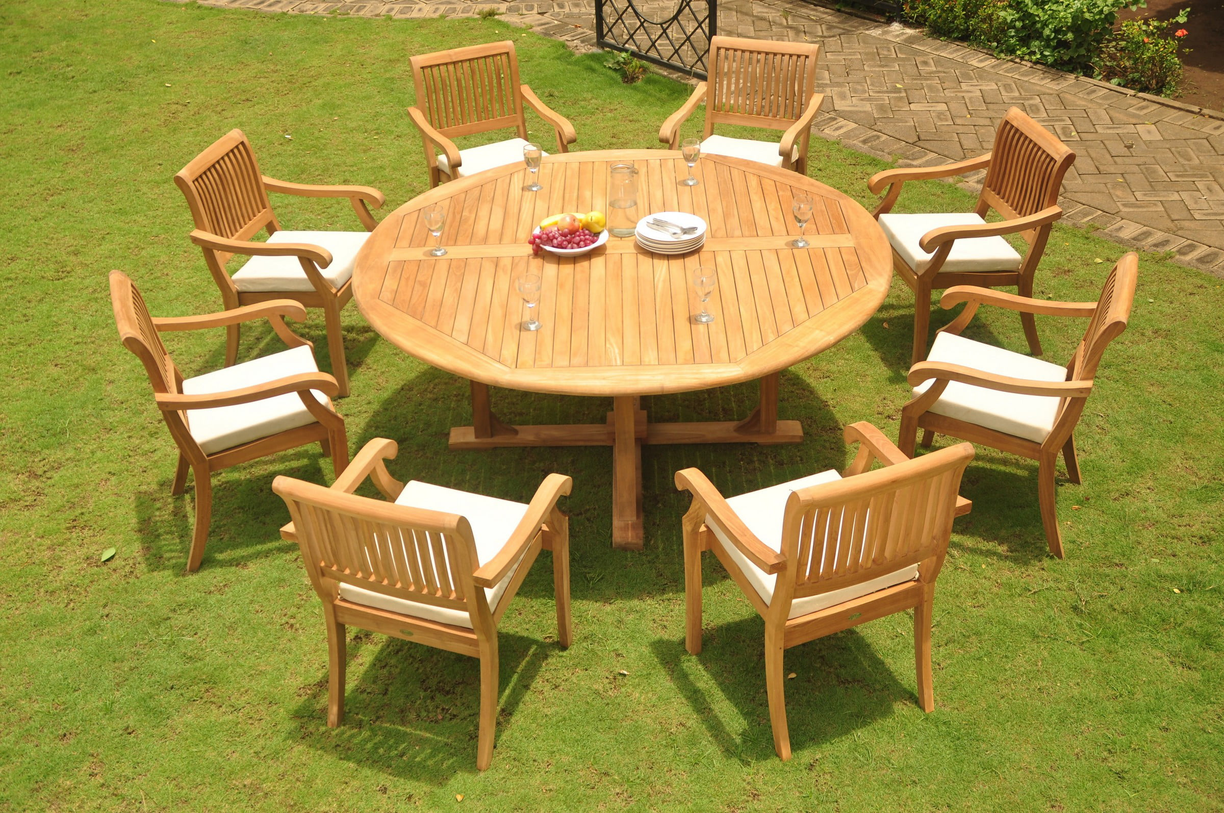 "Teak Dining Room Set: 8 Seater 9 Pc: 72"" Round Dining Table And 8 Arbor Stacking Arm Captain Chairs... by WholesaleTeak"