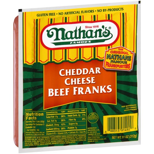 Nathan's Famous Cheddar Cheese Beef Franks, 5 count, 11 oz,