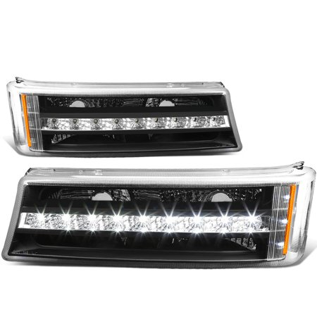 For 2003 to 2007 Chevy Silverado / Avalanche Pair of LED DRL Stripe Black Housing Bumper Lights 04 05