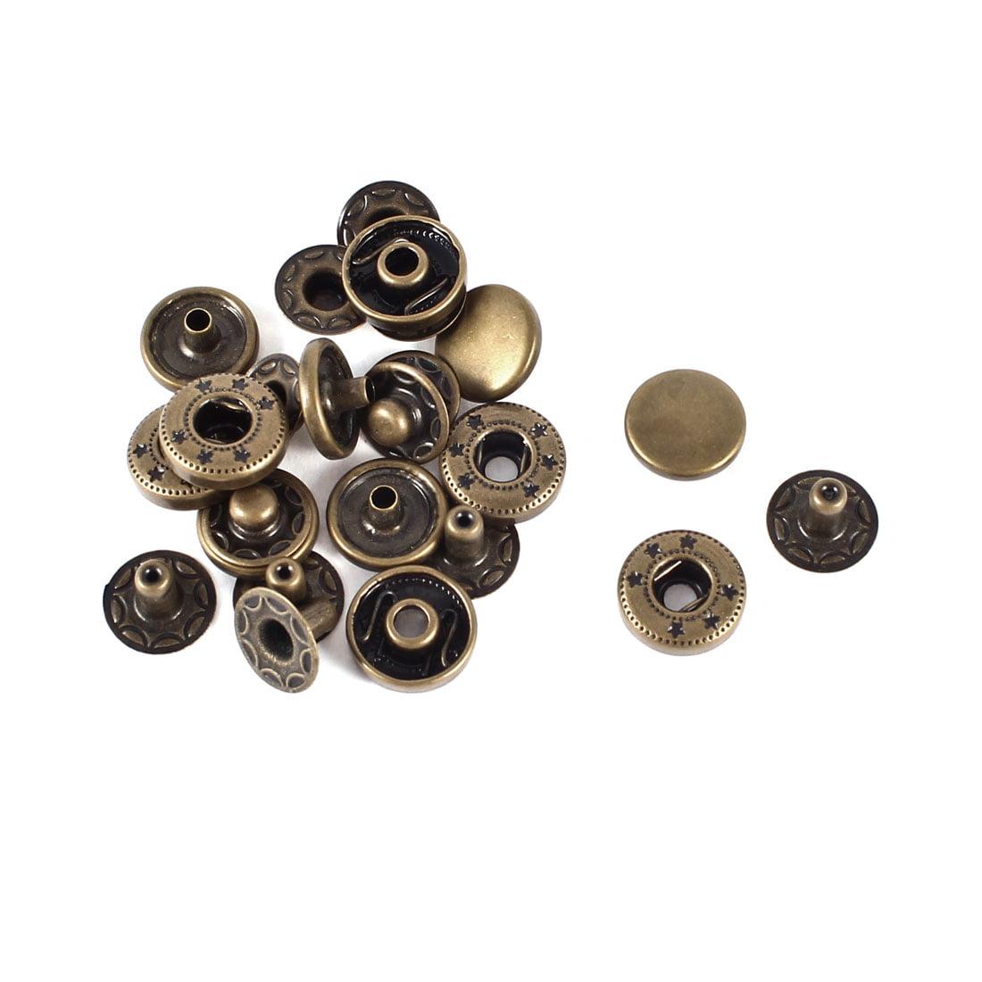 "Unique Bargains 6 Sets Metal Retro Style Snap Fasteners Popper Stud Press Buttons 11.5mm 0.45"""
