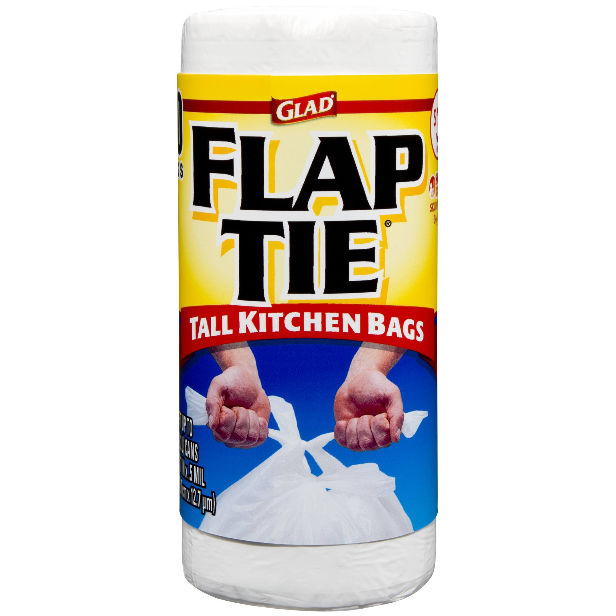 Glad Tall Kitchen Flap-Tie Trash Bags, 13 Gallon, 40 Ct