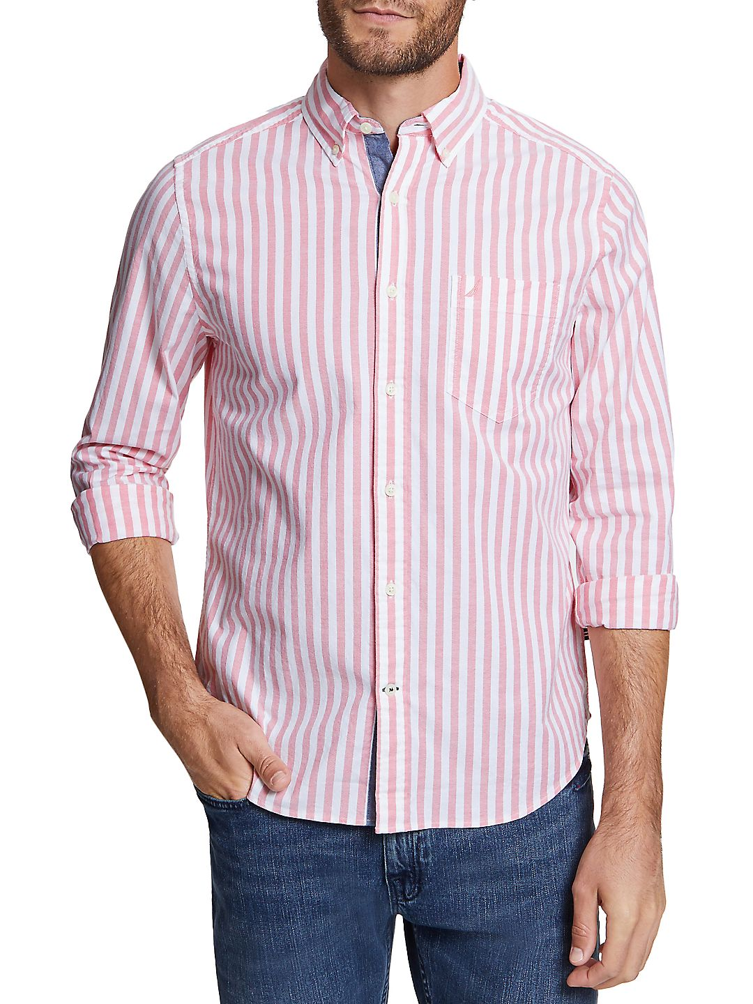 Stripe-Print Classic-Fit Button-Down Shirt
