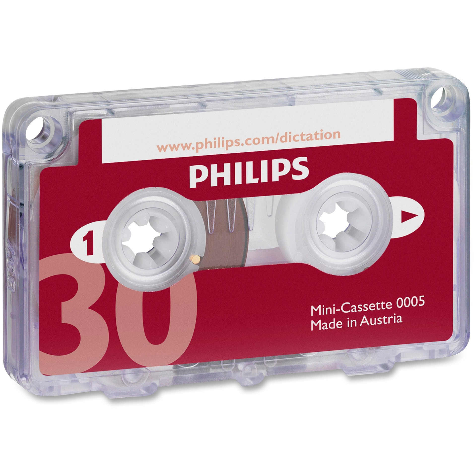 Philips, PSPLFH000560BX, Speech Mini Dictation Cassette, 10, Red