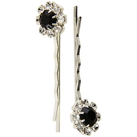 Caravan Stone Button Crystal and Color Bobby Pin Pair - image 1 of 1