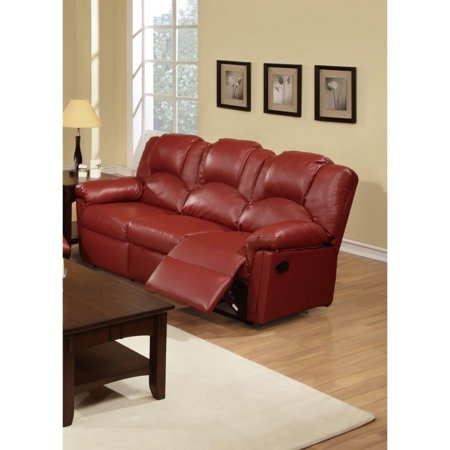 Benzara Sumptuous Hardwood, Metal & Bonded Leather Recliner Sofa, Burgundy