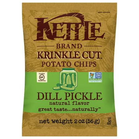 Kettle Brand Potato Chips, Krinkle Cut Dill Pickle Kettle Chips, 2 Oz