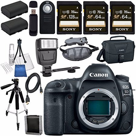 Canon EOS 5D Mark IV DSLR Camera (Body Only) 1483C002 + LPE-6 Lithium Ion Battery + Sony 128GB SDXC Card Bundle