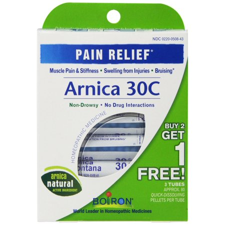 3 Pack Arnica 30C Great Value 3 Tubes Paquet Boiron 9 Tubes total