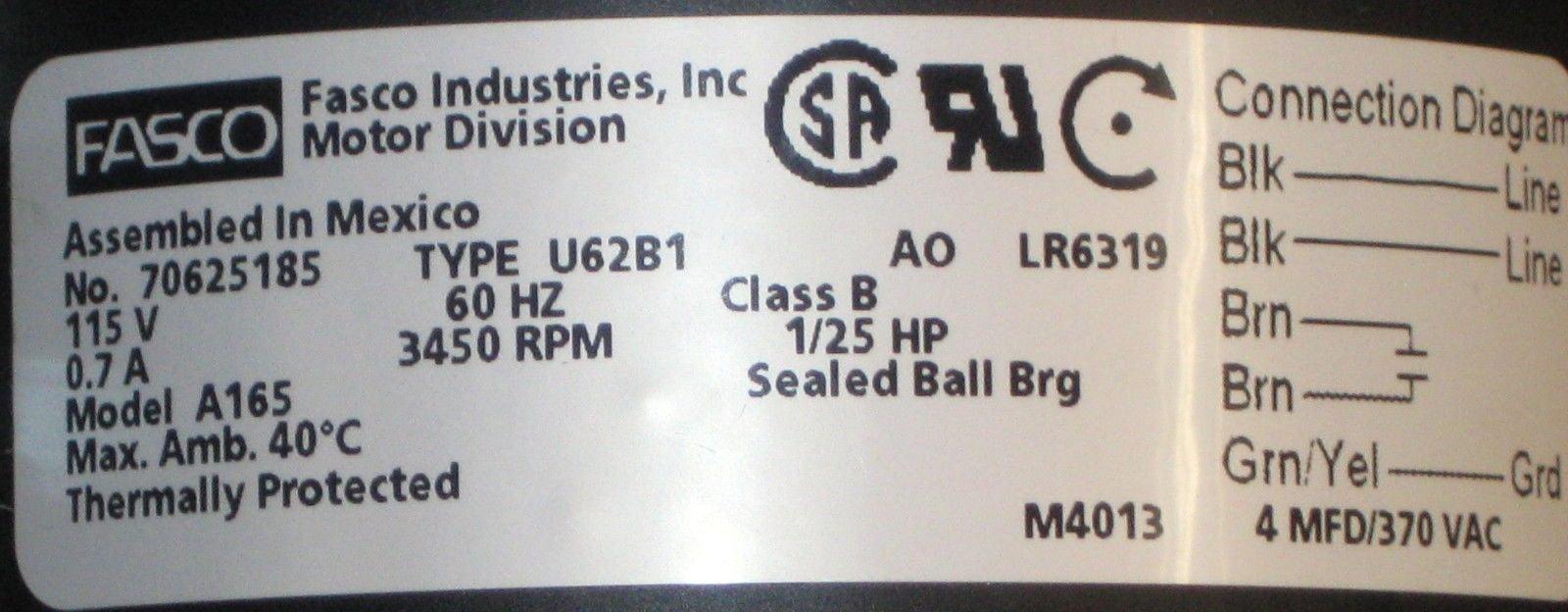 a165 fasco draft inducer motor for york 7062 3958 024 25960 000 rh walmart com U21B Fasco Blower Fasco U64b1