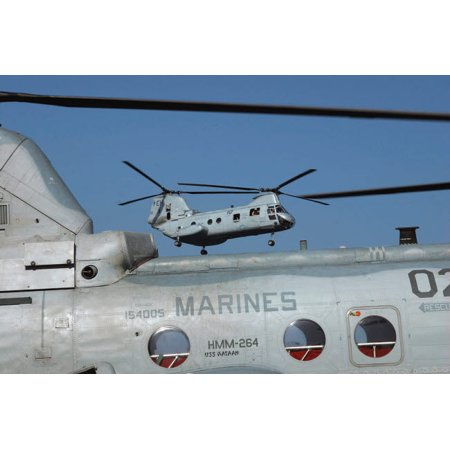 US Marine Corps CH-46 Sea Knight helicopters Poster Print by Stocktrek Images