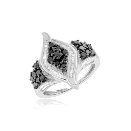 1.00 CTW Round & Baguette cut Black & White Diamond Marquise Shape Sterling Silver Ring