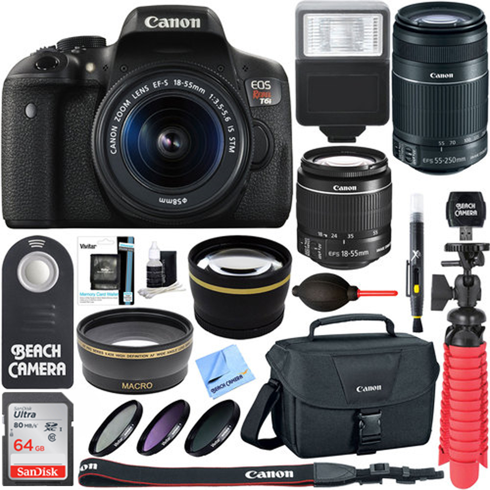 Canon EOS Rebel T6i Digital SLR Camera Wifi + 18-55mm IS STM & 55-250mm IS II Lens Kit + Accessory Bundle 64GB SDXC Memory + DSLR Photo Bag + Wide Angle Lens + 2x Telephoto Lens +Flash+Remote+Tripod